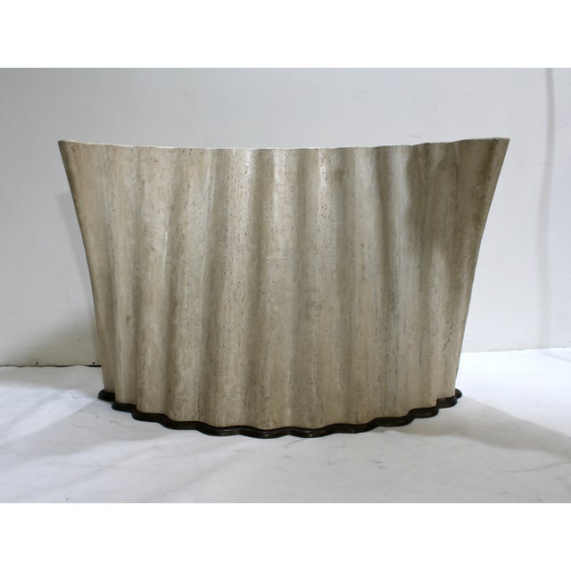 Modern Stone and Bronze Console Coffee Table Base - Image 3 of 6