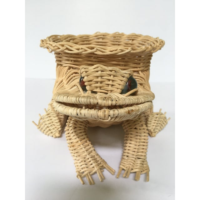 Mid 20th Century 20th Century Cottage Marble Eyed Wicker Frog Planter/Catchall For Sale - Image 5 of 10