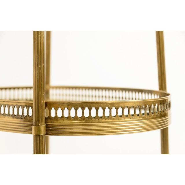 Metal French Petite Brass Three Tier Gallery Table, After Maison Jansen For Sale - Image 7 of 13