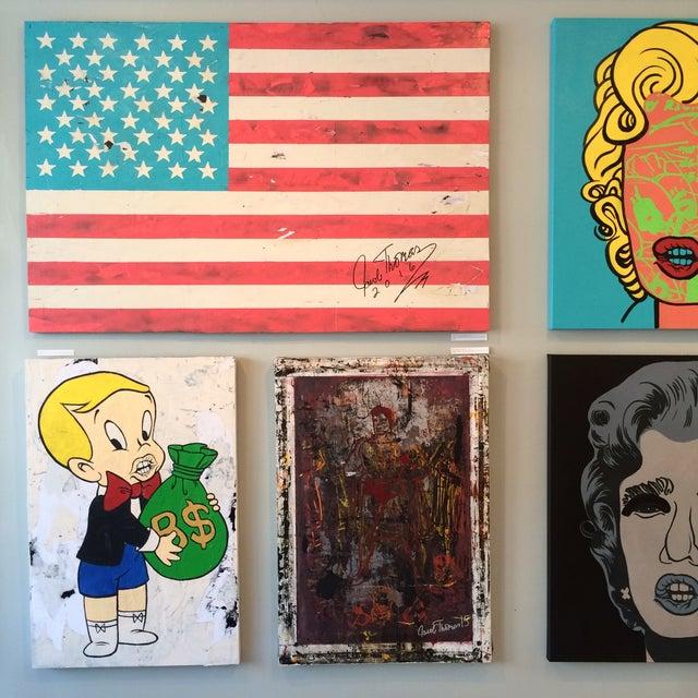 Jacob Thomas 'Distressed American Flag' Painting - Image 3 of 3