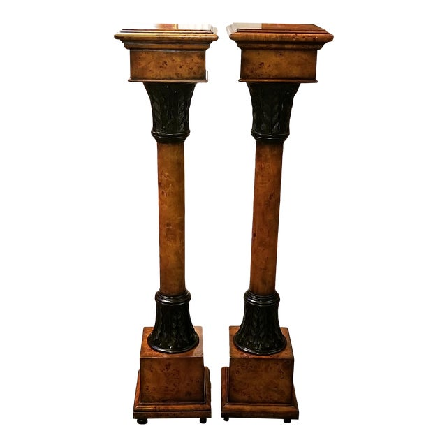 Theodore Alexander Biedermeier Burl Yewood and Bronze Mounted Pillars - a Pair For Sale