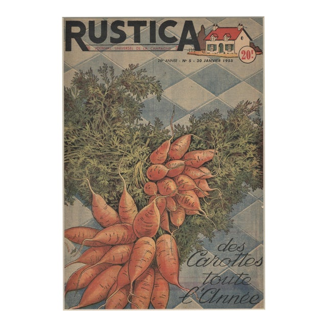 Matted French Mid-Century Country Kitchen Art-Vegetables-Carrots For Sale