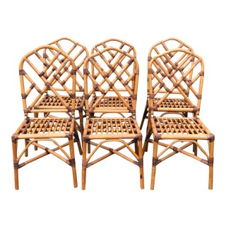 Vintage Chippendale Style Natural Bamboo Rattan Dining Chairs- Set of 6 For Sale