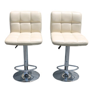 1970s Modern Chrome & Faux White Leather Bar Stools - a Pair For Sale