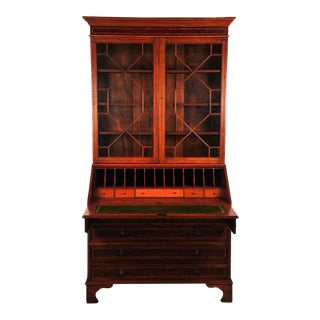 Late 19th Century Antique French Empire Mahogany Drop Leaf Secretary Desk For Sale