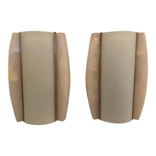 1960s Italian Space Age Alabaster Wall Lamps - a Pair For Sale