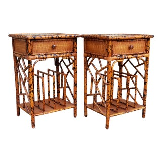 Faux Tortoise Side Tables With Magazine Rack-A Pair For Sale