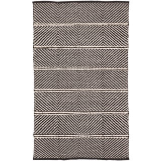 Nikki Chu by Jaipur Living Tempo Handmade Chevron Black/ White Area Rug - 9′ × 12′ For Sale