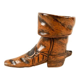 Hand Carved Wood Boot Match Holder Striker For Sale