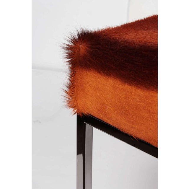 AFRICAN SPRINGBOK FUR BENCH IN VIBRANT BURNT-ORANGE For Sale - Image 10 of 11