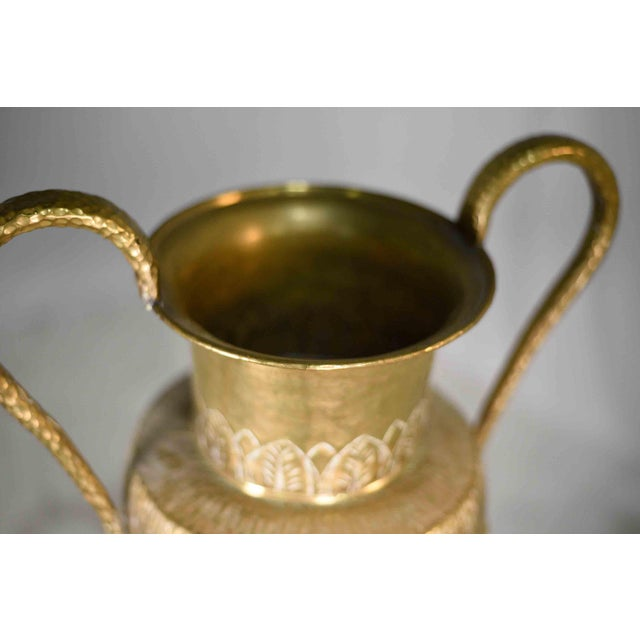Vintage Classical Hammered Brass Amphora 22 Inches For Sale - Image 9 of 13