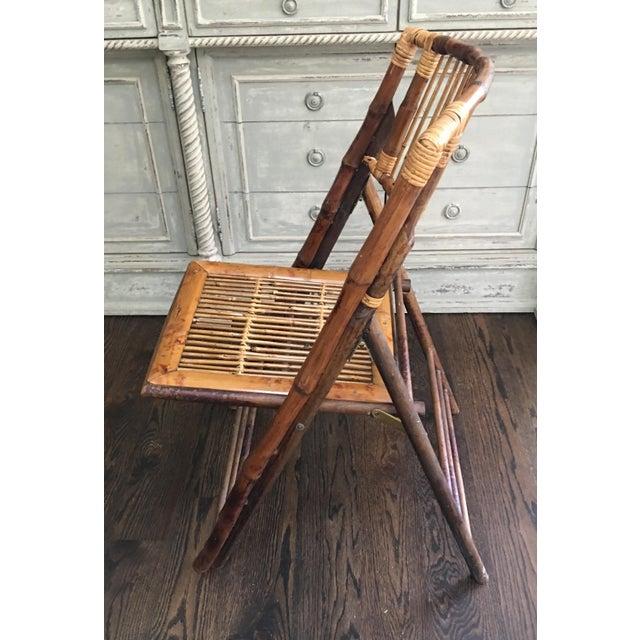 Boho Chic 1970s Vintage Tortoiseshell Bamboo Folding Chair For Sale - Image 3 of 8