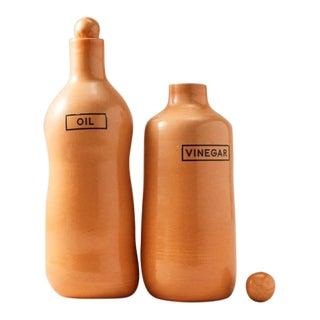 Contemporary Handmade Ceramic Tuscany Oil & Vinegar Set - Orange - Set of 2 For Sale