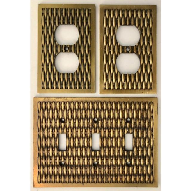 Metal Vintage Brass Basketweave Hardware - Set of 3 For Sale - Image 7 of 7
