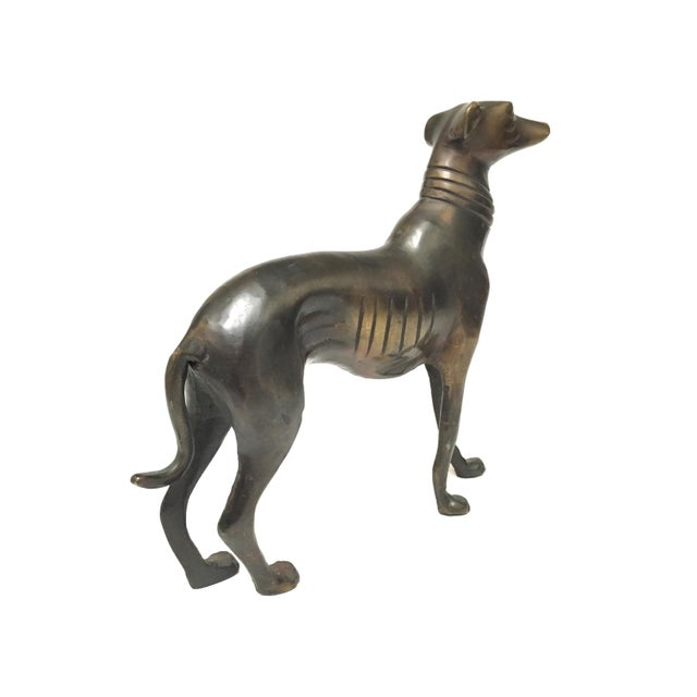 Vintage Mid Century Heavy Bronze Greyhound Dog Figurines- A Pair For Sale - Image 6 of 12