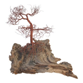 Organic Modern Copper Wire Tree on Wood Sculpture For Sale
