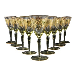 Venetian Amber Art Glass Gilt Wine Goblets - Set of 9