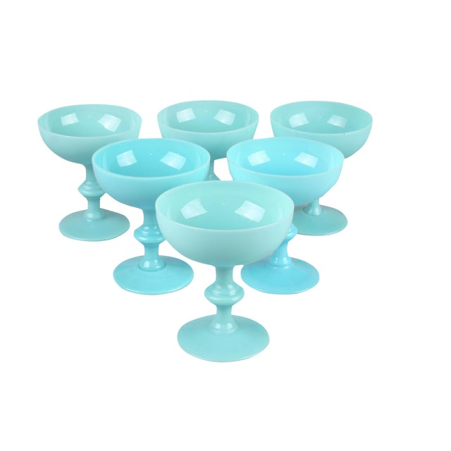 Blue Glass Sherbet Cups - Set of 6 For Sale