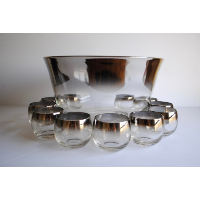 Mid-Century Silver Fade Punch Bowl & Glasses - Image 3 of 5
