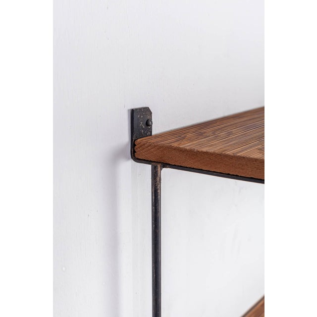 1950s Muriel Coleman Iron and Brushed Wood Shelve Unit For Sale - Image 5 of 6