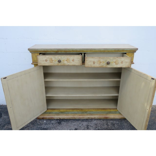 French Shabby Shic Painted Distressed Tall Sideboard Buffet Narrow Console 2154 For Sale - Image 4 of 13