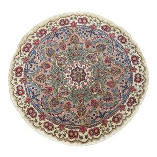 Vintage Round Persian Tabriz Rug, 3'3'' X 3'3''
