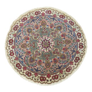 Vintage Round Tabriz Rug, 3'3'' X 3'3'' For Sale