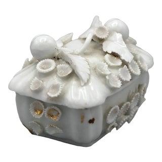 Vintage Chinese Plum Porcelain Box For Sale
