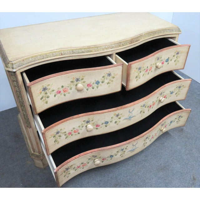 Mid 20th Century French Style Paint Decorated Serpentine Front Dresser For Sale - Image 5 of 7