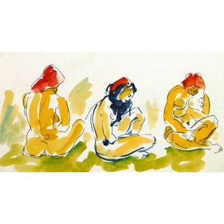 Ink & Watercolor - a Study in Sitting For Sale