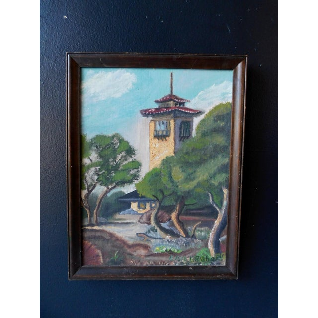 Canvas 1950s Spanish Colonial Scene Oil Painting by Elsie Graham, Framed For Sale - Image 7 of 8
