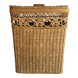 Vintage Natural Woven Wood Hamper Storage Basket For Sale