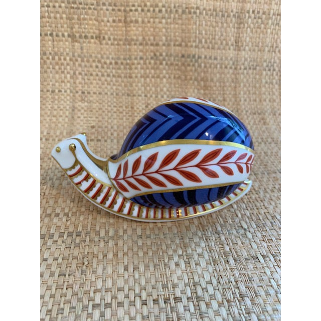 1980s Royal Crown Derby Snail Paperweight For Sale - Image 5 of 7