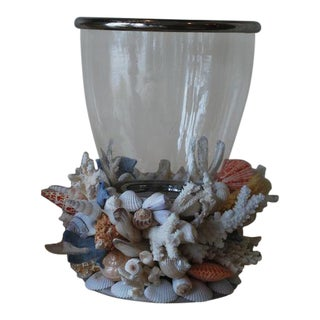 Hurricane Lantern on Seashell Base For Sale