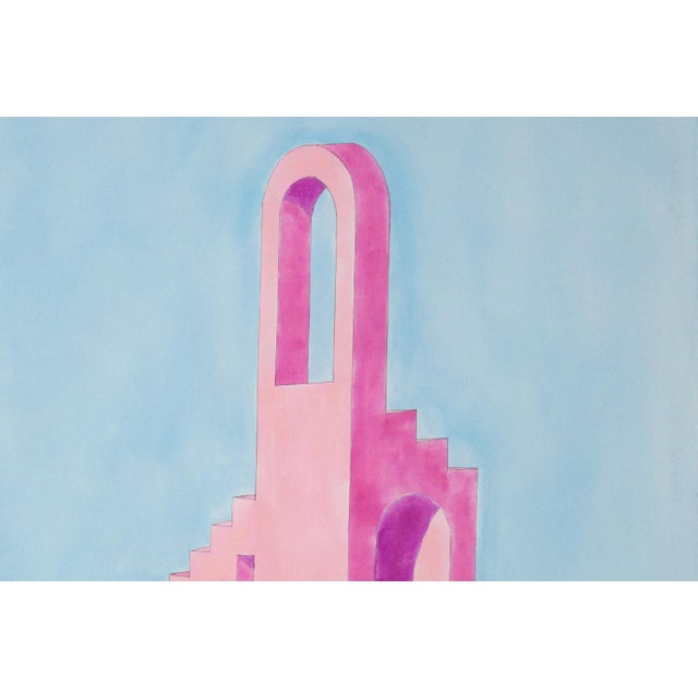 Watercolor 2020 Ryan Rivadeneyra,Pink Building on Blue Watercolor on Paper - Pastel Palette Architecture For Sale - Image 7 of 8