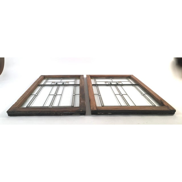 Brown Prairie School Period Stained Glass Windows- A Pair For Sale - Image 8 of 8