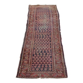 "Antique Distressed Kurdish Runner - 3'2""x12'8"" For Sale"