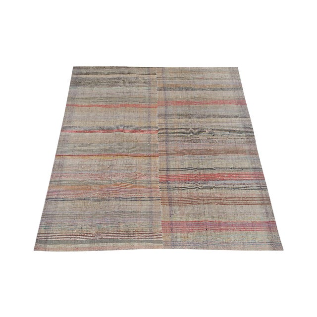 Hand-made Turkish flatweave, wool. This one of a kind piece can be used as a flatweave rug, table cloth, drapery, or...