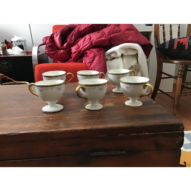 Ceramic Antique China Egg Cup With Handles - Set of 6 For Sale - Image 7 of 10