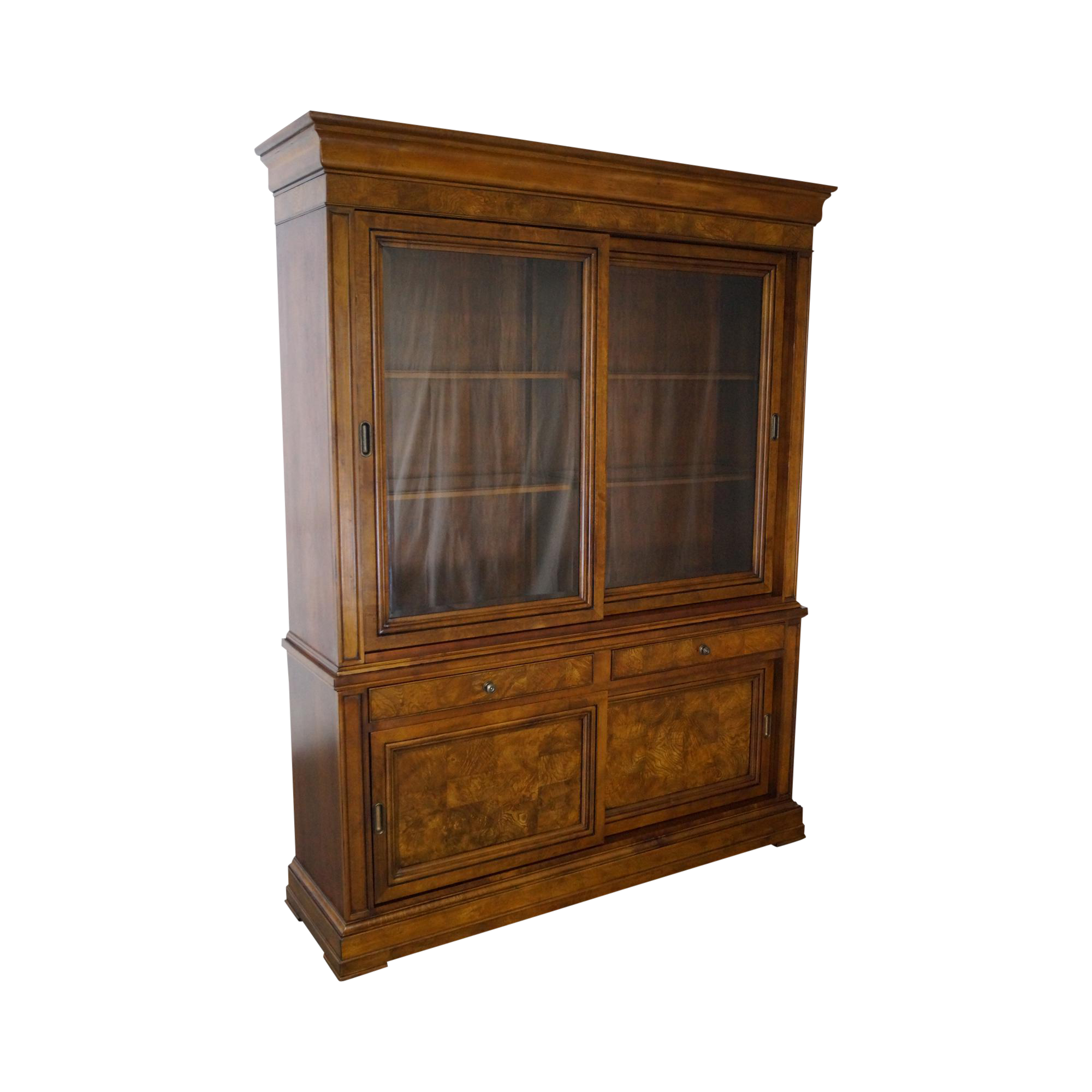 Beau Ethan Allen Townhouse Burl Wood Large Sliding Door Bookcase China Cabinet