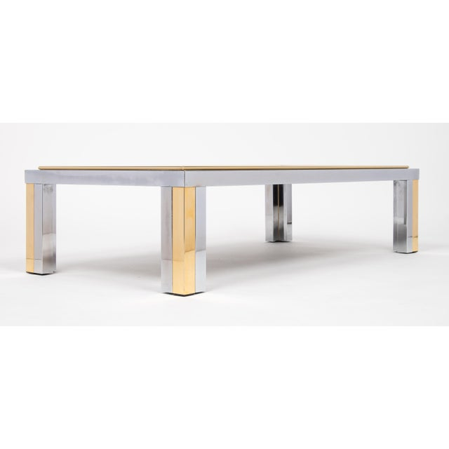 Gold Vintage Romeo Rega Chrome and Brass Coffee Table For Sale - Image 8 of 11