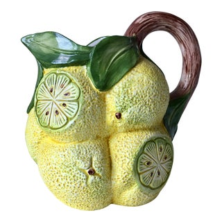 Bassano Italian Ceramic Lemon Pitcher For Sale
