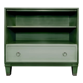 Boho Chic Chest Bookcase With a Contrasting Drawer in Putty For Sale