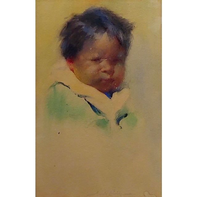 """American Gerald Cassidy """"Portrait of a Pueblo Boy"""" Taos Painting C.1916 For Sale - Image 3 of 10"""