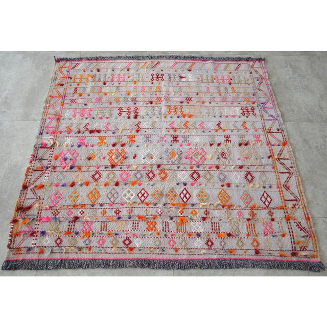 """Boho Chic Antique Anatolian Braided Rug Hand Woven Cotton Small Rug Sofreh - 3'7"""" X 3'10"""" For Sale - Image 3 of 8"""