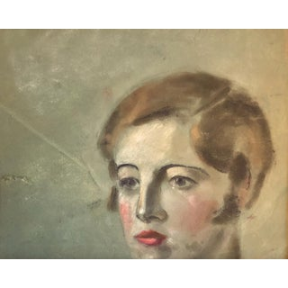 Mid-Century Female Portrait Pastel Painting Preview