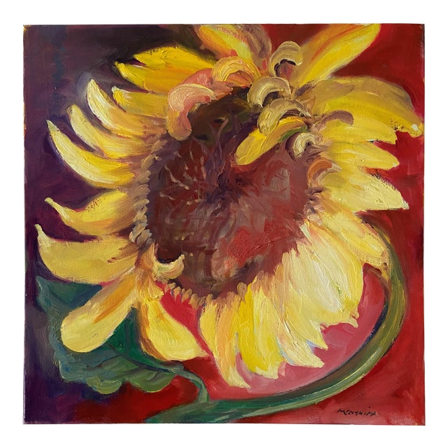 Contemporary Sunflower Still Life Oil Painting by Marina Movshina For Sale