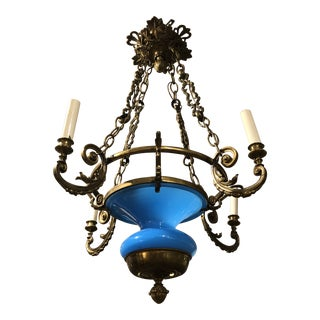 Mid 19th Century Antique Blue Glass and Brass Chandelier For Sale