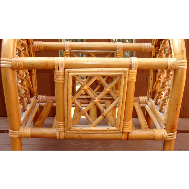 Wood Mid-Century Bamboo Bentwood Rattan Magazine Rack For Sale - Image 7 of 7