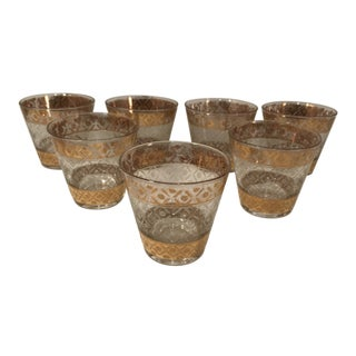 1970s 24k Gold Plated Culver Valencia Low Ball Tumbler Glasses - Set of 6 For Sale